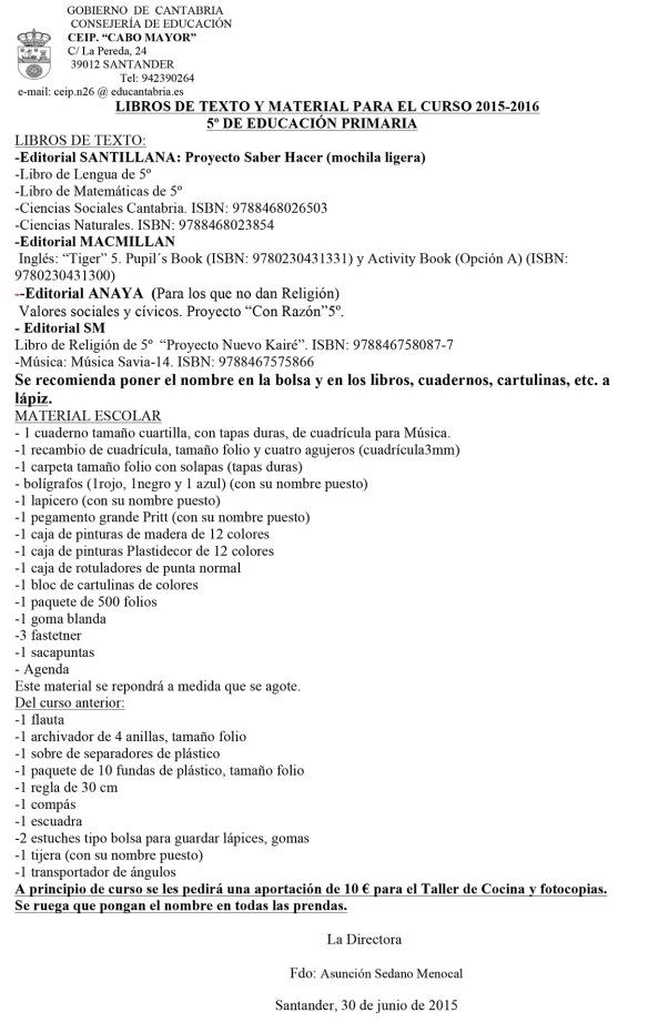 Microsoft Word - libros y material 2015-2016 Primaria.doc