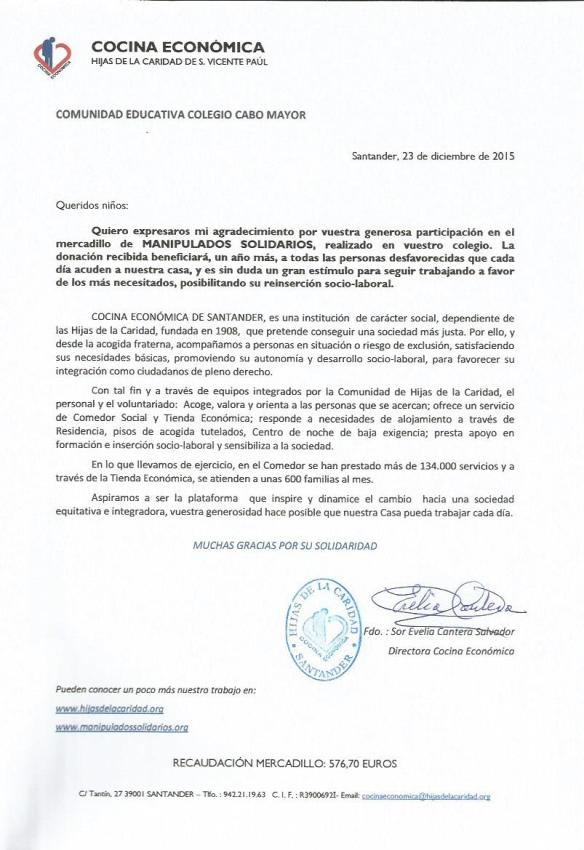 AGRADECIMIENTO COMUNIDAD EDUCATIVA CABO MAYOR